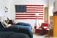 """<div class=""""caption-credit""""> Photo by: Tria Giovan</div><div class=""""caption-title"""">A Classic Kid's Room</div><p> Suzanne Kasler decorated this bedroom on Lake Thurmond, South Carolina with nautical elements and an oversize American flag. </p> <p> <b>See more:</b> </p> <p> <a rel=""""nofollow noopener"""" href=""""http://www.housebeautiful.com/shopping/best/4th-of-july-entertaining-ideas?link=emb&dom=yah_life&src=syn&con=blog_housebeautiful&mag=hbu"""" target=""""_blank"""" data-ylk=""""slk:11 Chic Finds for 4th of July Party"""" class=""""link rapid-noclick-resp""""><b>11 Chic Finds for 4th of July Party</b></a> <br> <br> <a rel=""""nofollow noopener"""" href=""""http://www.housebeautiful.com/decorating/home-makeovers/summer-home-decorating-ideas?link=emb&dom=yah_life&src=syn&con=blog_housebeautiful&mag=hbu"""" target=""""_blank"""" data-ylk=""""slk:50+ Easy Summer Decorating Ideas"""" class=""""link rapid-noclick-resp""""><b>50+ Easy Summer Decorating Ideas</b></a> </p>"""
