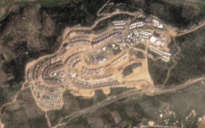This satellite image provided by Planet Labs Inc. shows the West Bank Jewish settlement of Bruchin on March 6, 2021. Satellite photos and data obtained by the AP document for the first time the full impact of the policies of then-President Donald Trump. (Planet Labs Inc. via AP)