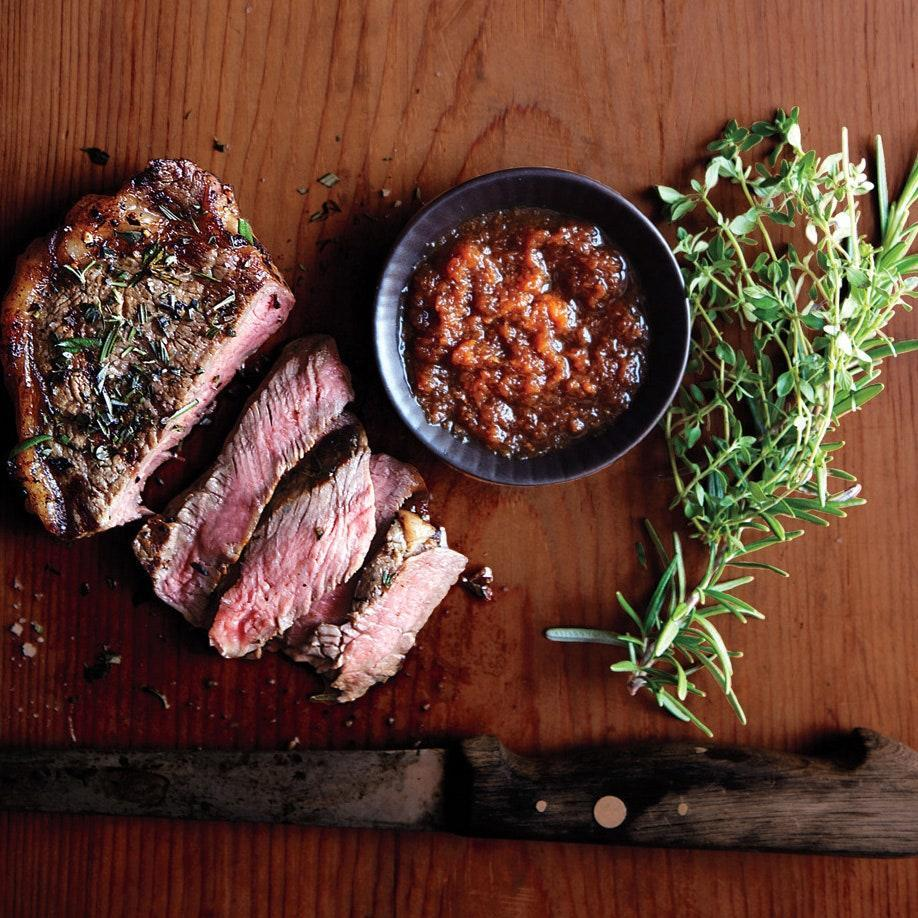 """Give steaks a boost with a homemade herb rub and a citrusy ponzu dipping sauce. <a href=""""https://www.epicurious.com/recipes/food/views/strip-steak-with-japanese-dipping-sauce-51187080?mbid=synd_yahoo_rss"""" rel=""""nofollow noopener"""" target=""""_blank"""" data-ylk=""""slk:See recipe."""" class=""""link rapid-noclick-resp"""">See recipe.</a>"""