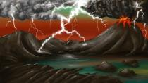An artist's rendition shows the early Earth environment