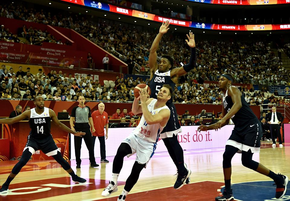 Jaromir Bohacik of the Czech Republic goes to the basket during the Basketball World Cup Group E game between Czech Republic and US in Shanghai on September 1, 2019. (Photo by HECTOR RETAMAL / AFP)        (Photo credit should read HECTOR RETAMAL/AFP/Getty Images)