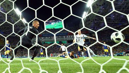 Soccer Football - World Cup - Group F - Germany vs Sweden - Fisht Stadium, Sochi, Russia - June 23, 2018 Germany's Marco Reus scores their first goal REUTERS/Michael Dalder