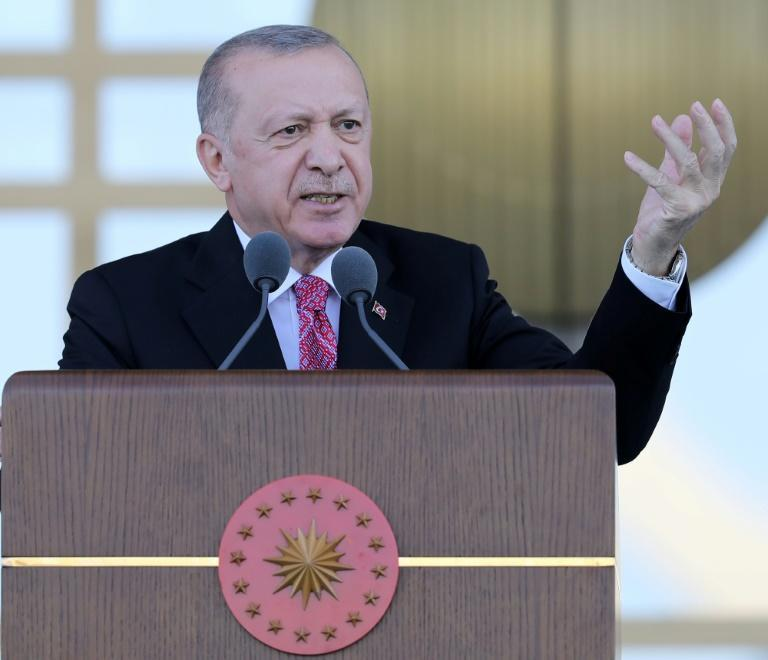 Turkish President Recep Tayyip Erdogan, pictured here on July 15, 2021, is set to visit the breakaway north of Cyprus on Tuesday