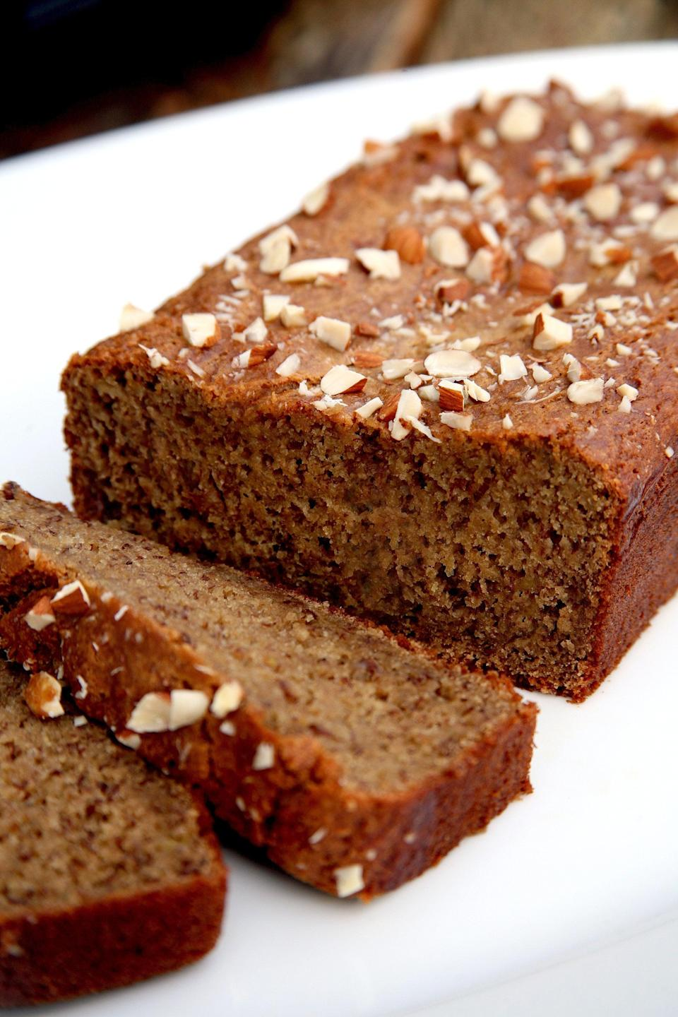 "<p>Sweet and moist on the inside and crispy on the outside, this banana bread tastes delicious on its own - but it's even more amazing smeared with nut butter and a sprinkle of cinnamon.</p> <p><strong>Calories:</strong> 188 per slice<br> <strong>Protein:</strong> 8.2 grams</p> <p><strong>Get the recipe:</strong> <a href=""https://www.popsugar.com/fitness/Protein-Banana-Bread-37091173"" class=""link rapid-noclick-resp"" rel=""nofollow noopener"" target=""_blank"" data-ylk=""slk:banana bread"">banana bread</a> </p>"