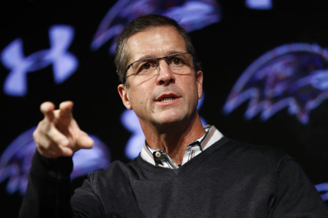 Ravens head coach John Harbaugh will face questioning in the Colin Kaepernick collusion grievance the day after Baltimore signed Robert Griffin III. (AP)