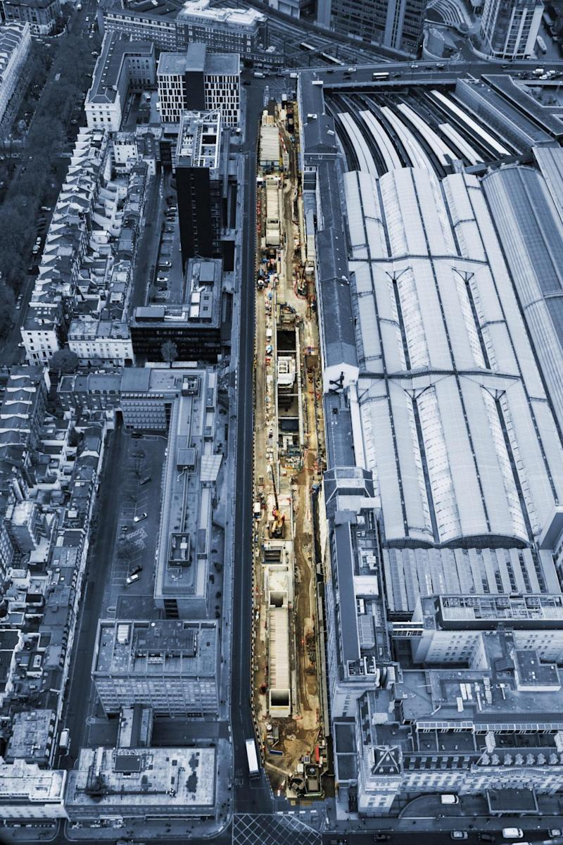 Aerial view of Paddington station being rebuilt. (Crossrail )