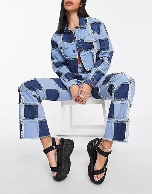 The Ragged Priest straight leg jeans in patchwork check denim