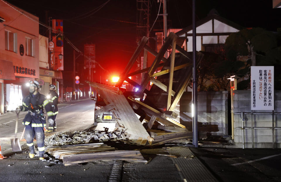 A structure falls due to an earthquake in Koorimachi, Fukushima prefecture, northeastern Japan on February 14, 2021.
