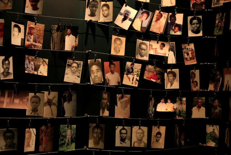 FILE PHOTO: Photographs of people who were killed during the 1994 genocide are seen inside the Kigali Genocide Memorial Museum