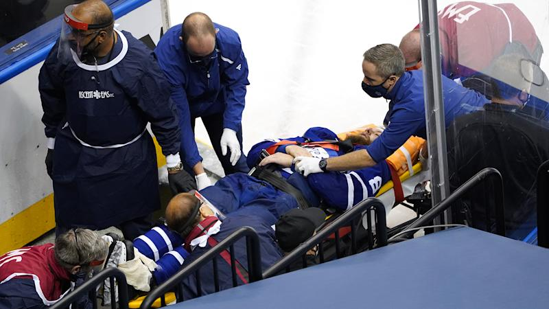 Jake Muzzin left Game 2 on a stretcher after falling awkwardly into a Blue Jackets player. (Photo by Andre Ringuette/Freestyle Photo/Getty Images)