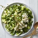 "<p>We doubled down--deliciously--on the green in this summer salad with melon, cucumber, basil, arugula and pepitas. Creamy burrata makes this easy salad extra luxurious, so it's perfect for summer parties. It would be lovely with grilled chicken or as part of a cold buffet spread. <a href=""http://www.eatingwell.com/recipe/275480/honeydew-cucumber-salad-with-burrata/"" rel=""nofollow noopener"" target=""_blank"" data-ylk=""slk:View recipe"" class=""link rapid-noclick-resp""> View recipe </a></p>"