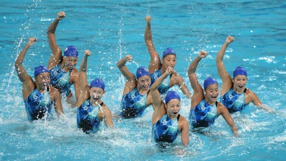 The Japan syncronised swimming team during a training session at the Maria Lenk Aquatics Centre in Rio de Janeiro, Brazil.