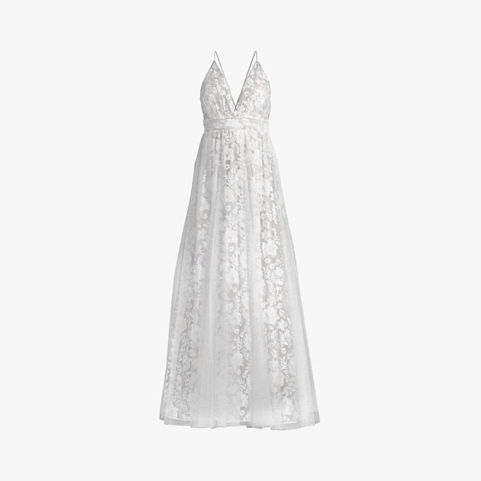 "$395, SAKS FIFTH AVENUE. <a href=""https://www.saksfifthavenue.com/product/aidan-by-aidan-mattox-embroided-floral-mesh-gown-0400012180630.html?dwvar_0400012180630_color=WHITE"" rel=""nofollow noopener"" target=""_blank"" data-ylk=""slk:Get it now!"" class=""link rapid-noclick-resp"">Get it now!</a>"