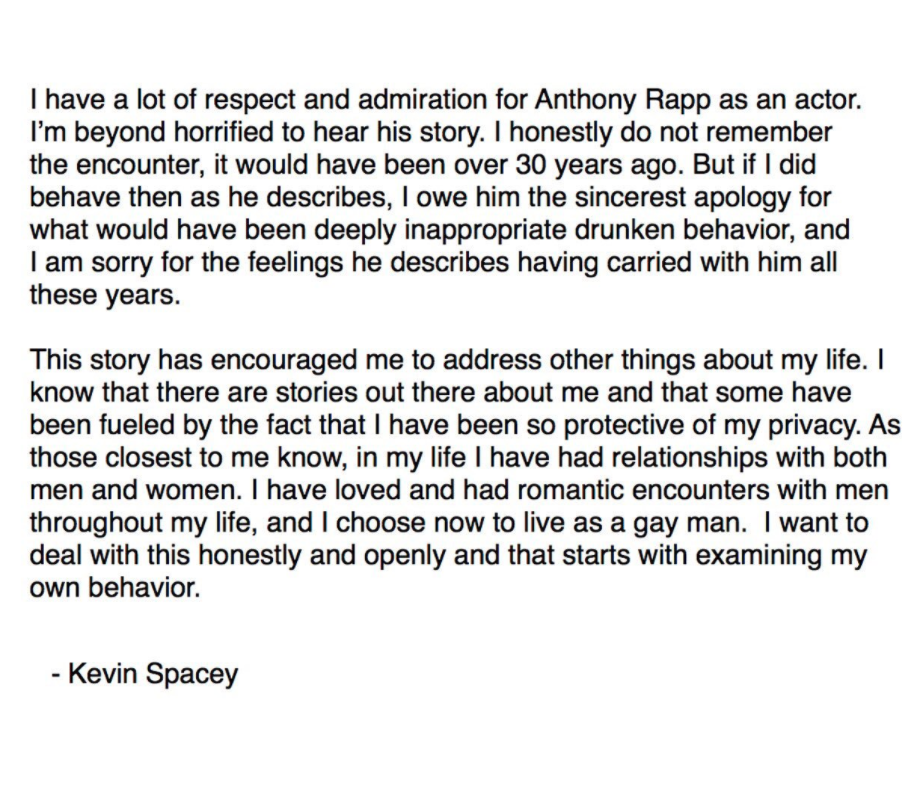 Kevin Spacey apologises over sexual misconduct claims