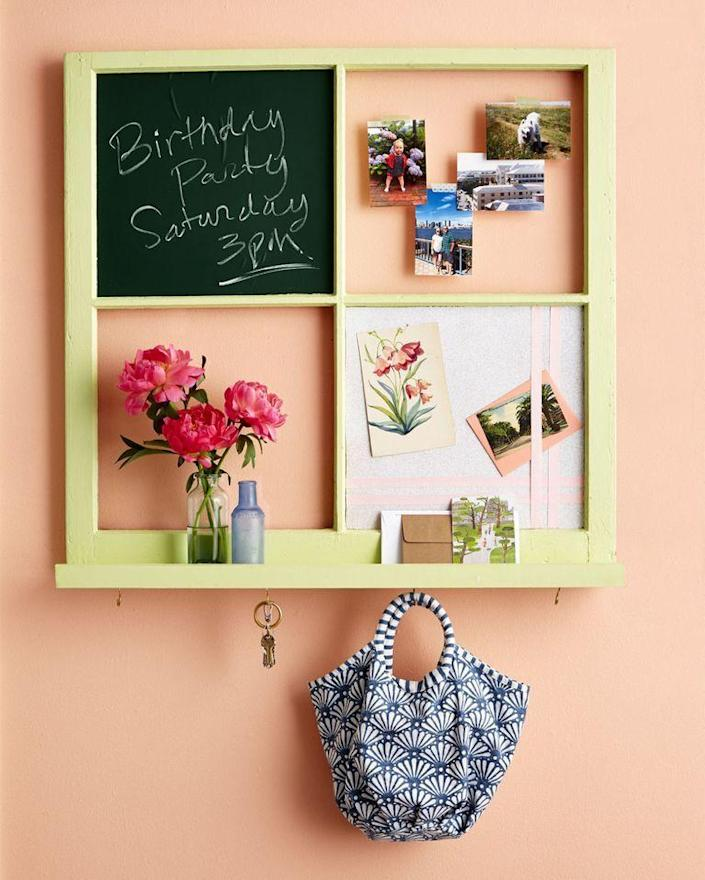 """<p>If house keys and permission slips always seem to go missing in your family, then you can turn an old window into a useful (and stylish!) organizer that will keep everyone on top of things. </p><p><strong><em><a href=""""https://www.womansday.com/home/crafts-projects/how-to/a55906/how-to-turn-a-window-into-an-entryway-hub/"""" rel=""""nofollow noopener"""" target=""""_blank"""" data-ylk=""""slk:Get the Entryway Hub tutorial"""" class=""""link rapid-noclick-resp"""">Get the Entryway Hub tutorial</a>. </em></strong></p><p><a class=""""link rapid-noclick-resp"""" href=""""https://www.amazon.com/Microblend-Interior-Paint-Primer-Washable/dp/B094DZBR9Y?tag=syn-yahoo-20&ascsubtag=%5Bartid%7C10070.g.37133630%5Bsrc%7Cyahoo-us"""" rel=""""nofollow noopener"""" target=""""_blank"""" data-ylk=""""slk:SHOP LATEX PAINT"""">SHOP LATEX PAINT</a></p>"""