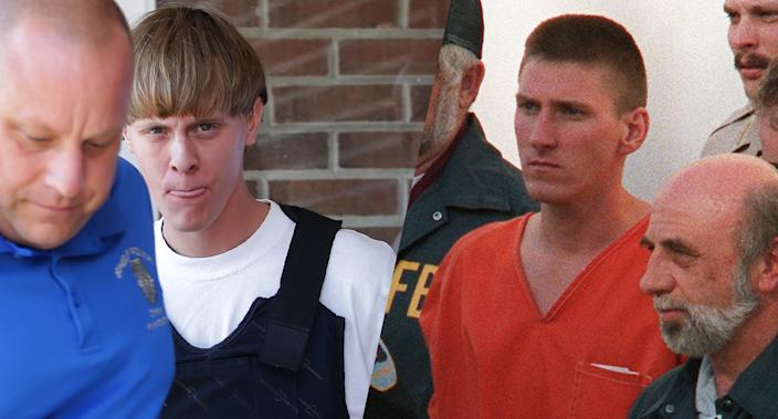 Dylann Roof and Timothy McVeigh. (Photos: Chuck Burton/AP, Bob Daemmerich/AFP/Getty Images)