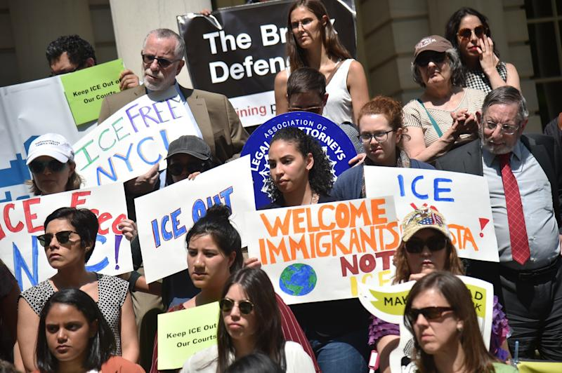 Advocates in New York City demand thatImmigration and Customs Enforcement be barred from arresting people in courthouses, except when authorized by a judicial warrant, on May 9, 2018.
