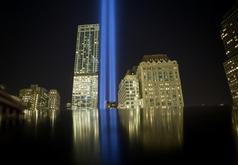 "The ""Tribute in Light"" memorial on September 11, 2014 in New York City, on the 13th anniversary of the terrorist attacks that killed nearly 3,000 people at the World Trade Center, Pentagon and on Flight 93"