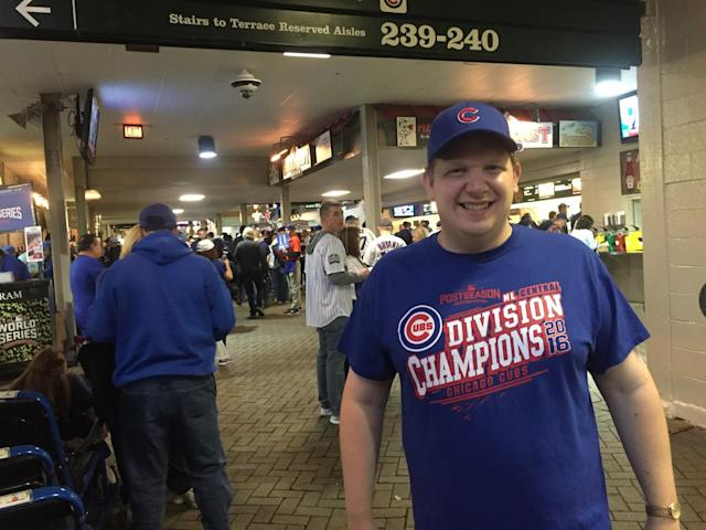 Pete Seat finally got inside Wrigley Field for a World Series game. (Yahoo Sports)