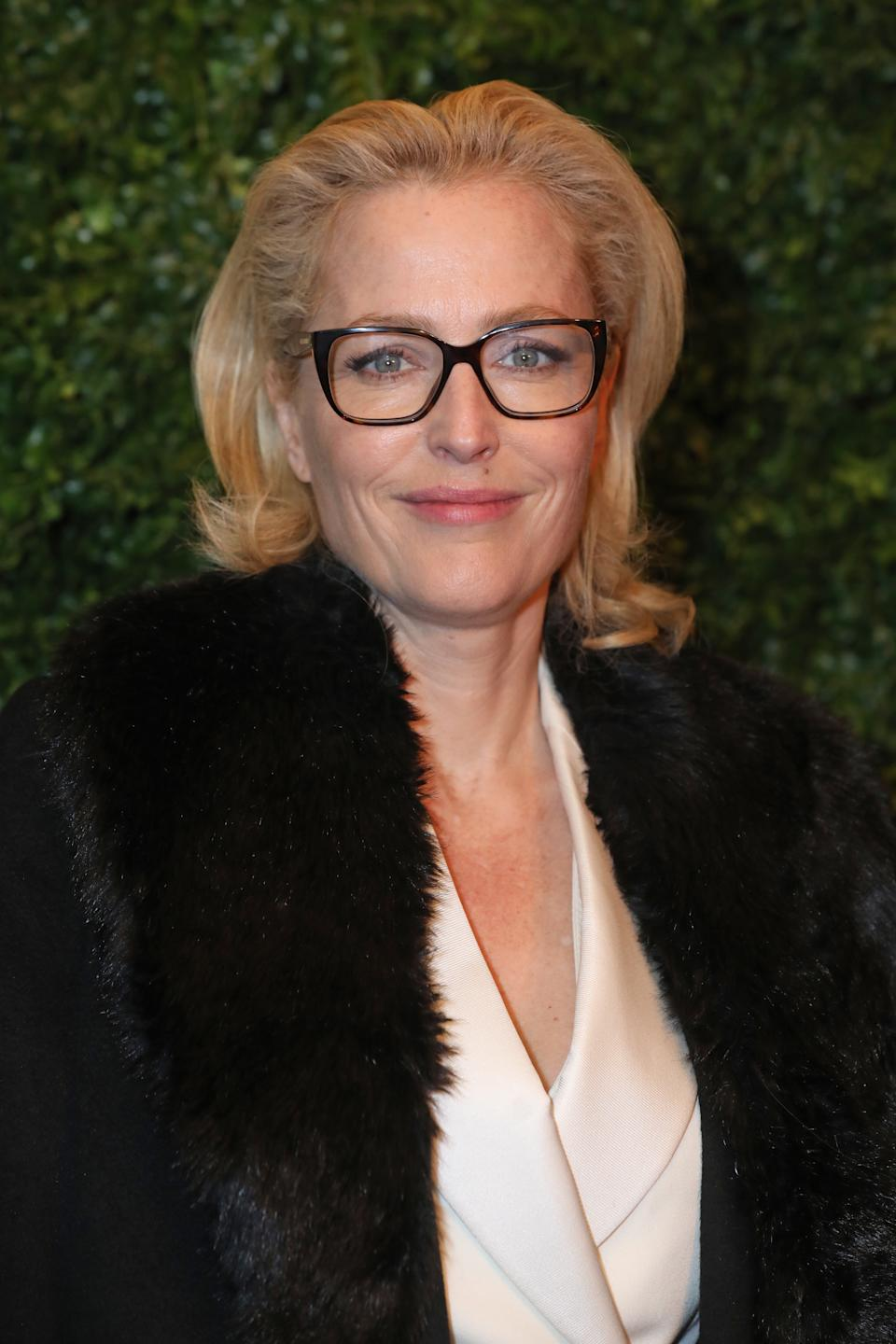 Gillian Anderson arriving at the Charles Finch and Chanel pre-Bafta party at 5 Hertford Street in Mayfair, London.