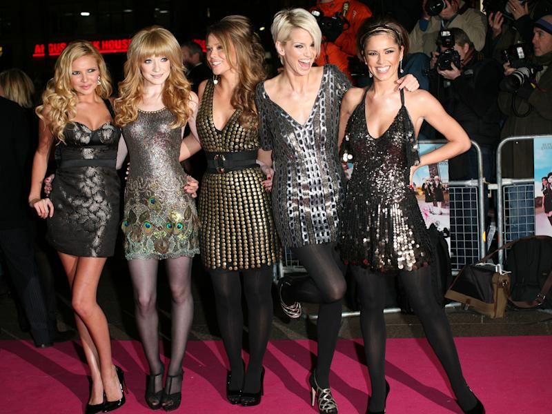 Nadine Coyle, Nicola Roberts, Kimberley Walsh, Sarah Harding and Cheryl Cole of Girls Aloud arrive at the premiere of St Trinian's at The Empire, Leicester Square, London