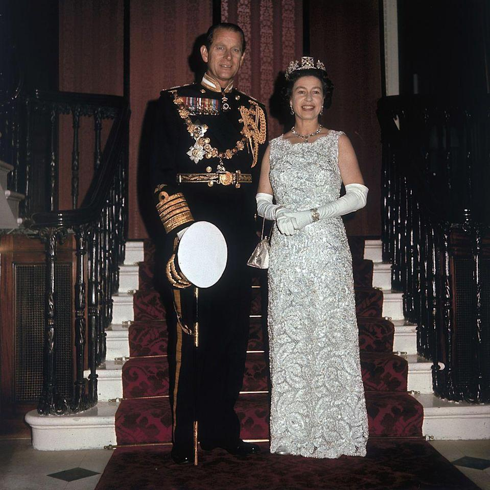 <p>At their Silver Wedding anniversary celebrations at Buckingham Palace.</p>