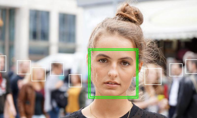 A young woman is picked out by facial recognition software.