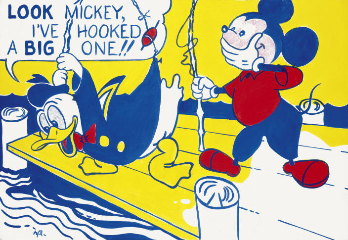 """This undated photo provided by The Art Institute of Chicago shows the painting """"Look Mickey"""" by the late pop artist Roy Lichtenstein. The artwork will be part of the exhibit """"Roy Lichtenstein: A Retrospective,"""" which runs through Sept. 3, 2012 before traveling to Washington, London and Paris. (AP Photo/Courtesy the Estate of Roy Lichtenstein via The Art Institute of Chicago)"""