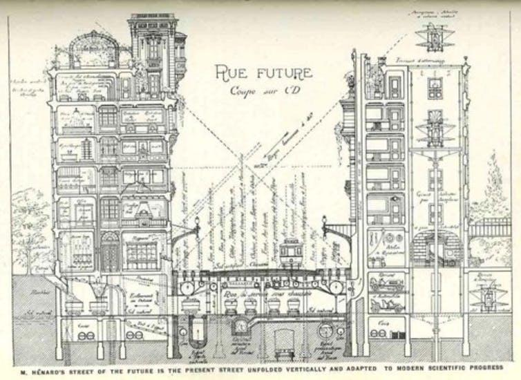 Line drawing of cross section of buildings and street