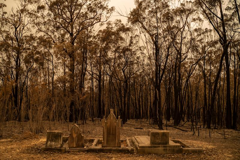 A cemetery recently hit by bushfires near Mogo, New South Wales, on Jan. 5. | Adam Ferguson for TIME