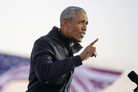 Former President Barack Obama speaks at a rally at Belle Isle Casino in Detroit, Mich., Saturday, Oct. 31, 2020, also attended by Democratic presidential candidate former Vice President Joe Biden. (AP Photo/Andrew Harnik)