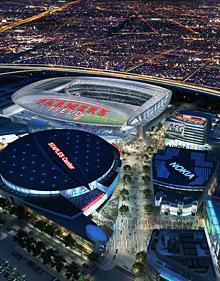 In this file image provided by AEG, a proposed NFL football stadium, to be named Farmers Field, is depicted next to Staples Center in Los Angeles