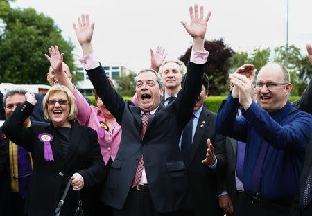 The leader of Britain's UKIP party, Nigel Farage, celebrates with newly elected councillors in Basildon