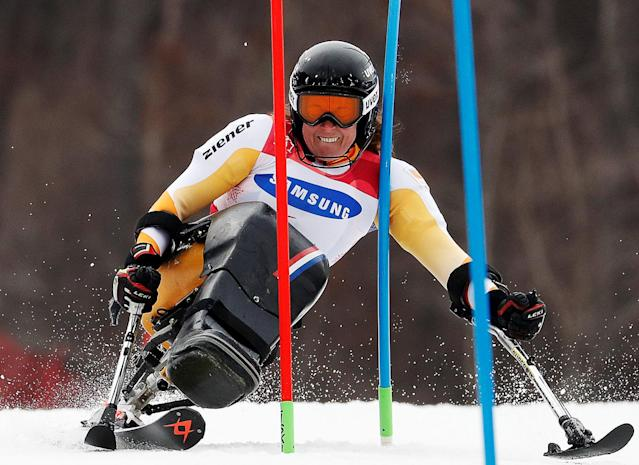 Alpine Skiing - Pyeongchang 2018 Winter Paralympics - Women's Slalom - Sitting - Run 1 - Jeongseon Alpine Centre - Jeongseon, South Korea - March 18, 2018 - Linda Van Impelen of the Netherlands. REUTERS/Paul Hanna