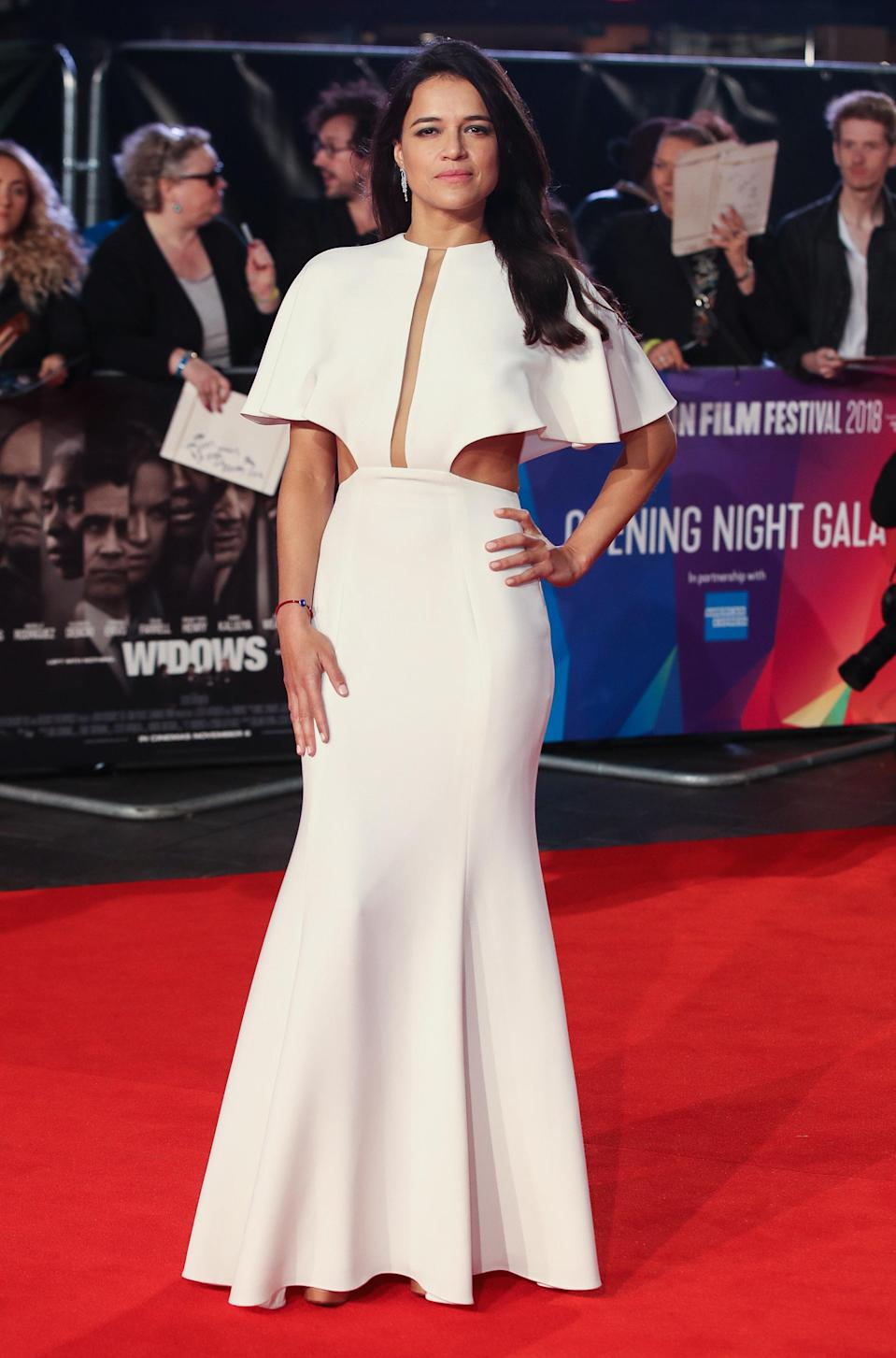 """<p>The 'Fast and Furious' star attended the European premiere of """"Widows"""" in London, wearing a Julianna Bass dress on October 10. <em>[Photo: Getty]</em> </p>"""