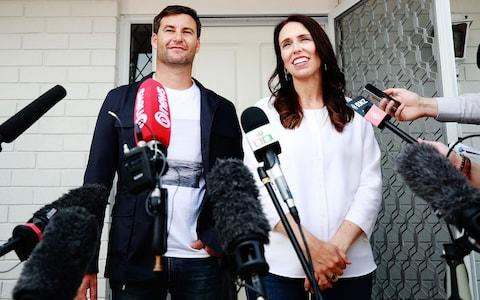 Prime Minister Jacinda Ardern and her partner Clarke Gayford - Credit: Hannah Peters /Getty