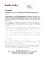 Lundin Mining Announces Amendment to Increase and Extend Credit Facility Agreement (CNW Group/Lundin Mining Corporation)