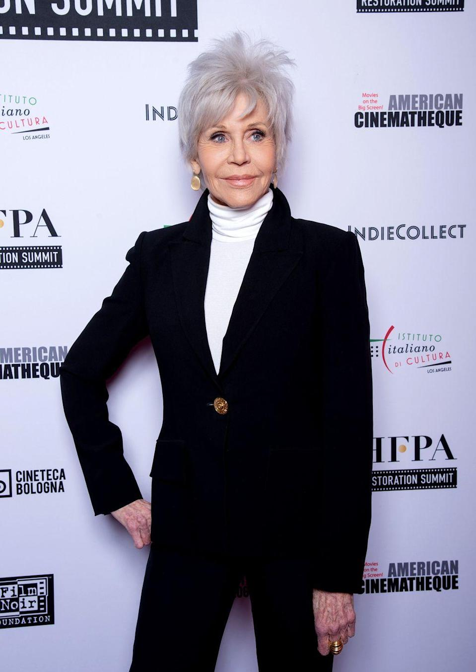 """<p><a href=""""https://www.prevention.com/beauty/hair/a30854672/jane-fonda-gray-hair-oscars-2020/"""" rel=""""nofollow noopener"""" target=""""_blank"""" data-ylk=""""slk:Jane Fonda debuted a silvery-white color at the 2020 Academy Awards"""" class=""""link rapid-noclick-resp"""">Jane Fonda debuted a silvery-white color at the 2020 Academy Awards</a>, inspiring people everywhere to go gray. Ask your colorist for a mix between white and silver to really stand out. When you're roots grow in, they will blend right in with your new color.</p>"""