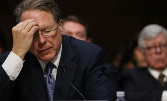 Wayne LaPierre pauses during a Senate Judiciary Committee hearing on gun violence on Jan. 30.