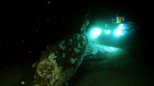 The Pisces IV sub, used in Bob Ballard's expedition, explores a sunken World War II Japanese submarine. The sub was sunk by the USS Ward in what is considered the first shot fired by the U.S.