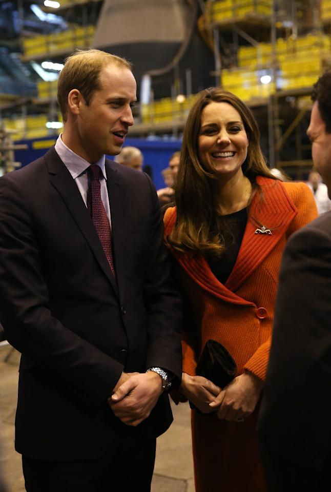 BARROW-IN-FURNESS, UNITED KINGDOM - APRIL 05:  Prince William, Earl of Strahearn and Catherine, Countess of Strathearn visit the Astute-class Submarine Building at BAE Systems on April 5, 2013 in Barrow-in-Furness, United Kingdom. The Duke of Cambridge is Commodore-in-Chief of the Royal Navy Submarine Service and during their visit they will tour the offices of Vanguard replacement programme and meet with the crew of Artful and their families, who are now based in Barrow.  (Photo by Chris Jackson-PoolGetty Images)