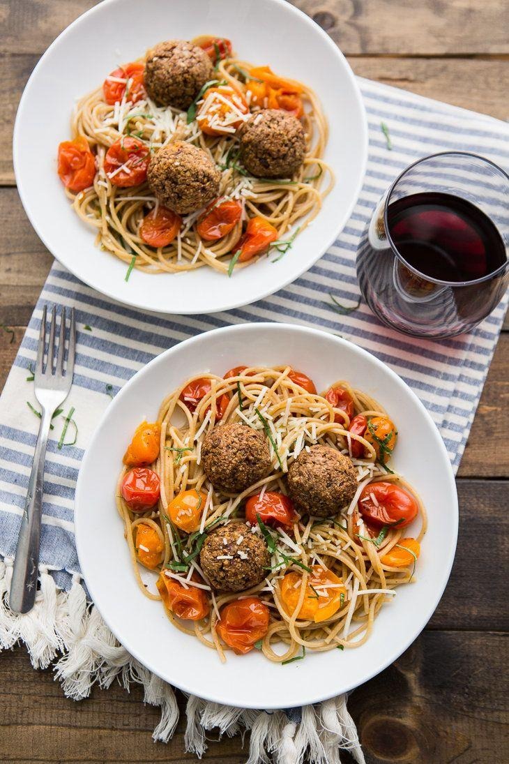 "<strong>Get the <a href=""http://naturallyella.com/lentil-meatballs-with-burst-tomato-pasta/"">Lentil Meatballs with Burst Tomato Pasta recipe</a>&nbsp;from Naturally Ella</strong>"