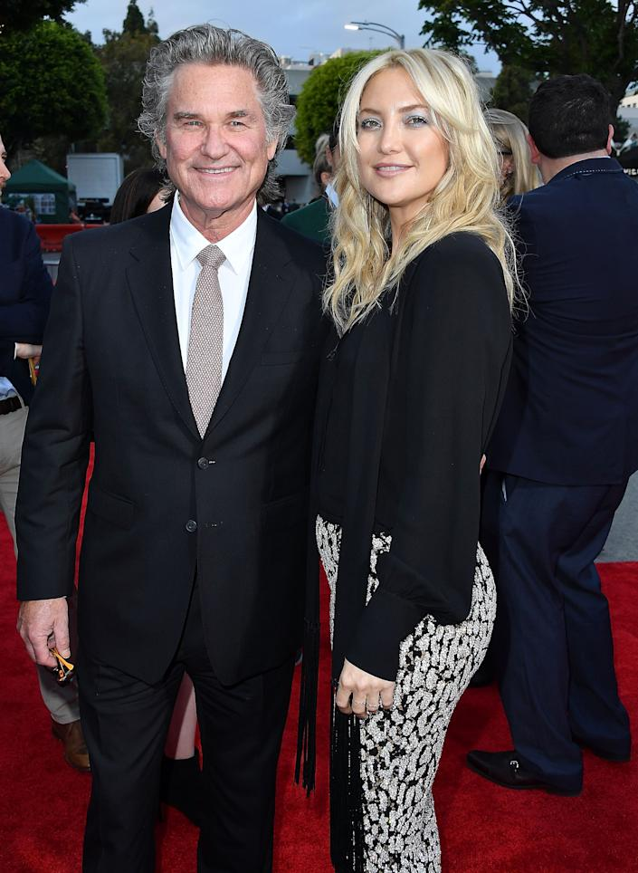 WESTWOOD, CA - MAY 10:  Kurt Russell;Kate Hudson arrives at the Premiere Of 20th Century Fox's