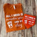 """<p>Let the coffee shop know that you and your dog are serious about your drinks with matching ensembles. </p> <p><strong>Buy it!</strong> All I Need Is Pumpkin Spice And My Dog Shirt/Bandana Combo, $36.00; <a href=""""https://www.awin1.com/cread.php?awinmid=6220&awinaffid=272513&clickref=POGiftforDogOwnersObsessedwithPumpkinSpicedLattesKBender0921&platform=dl&ued=https%3A%2F%2Fwww.etsy.com%2Flisting%2F623030744%2Fall-i-need-is-pumpkin-spice-and-my-dog"""" rel=""""nofollow noopener"""" target=""""_blank"""" data-ylk=""""slk:Etsy.com"""" class=""""link rapid-noclick-resp"""">Etsy.com</a></p>"""