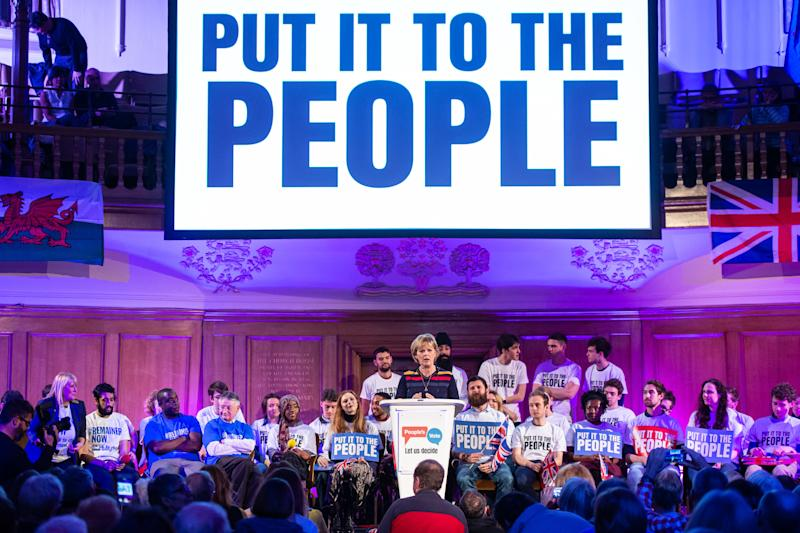 Anna Soubry speaking at a People's Vote Rally in Assembly Hall, London. Picture date: Tuesday April 9, 2019. Photo credit should read: Matt Crossick/Empics