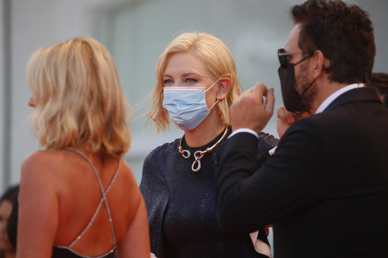 VENICE, ITALY - SEPTEMBER 02 2020: Cate Blanchett attends the red carpet of the Opening Ceremony and the 'Lacci' screening at the Lido Venice.- PHOTOGRAPH BY P. Lehman / Barcroft Studios / Future Publishing (Photo credit should read P. Lehman/Barcroft Media via Getty Images)