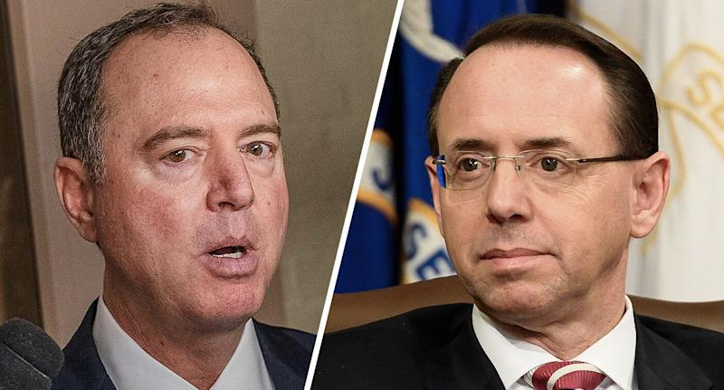 Rep. Adam Schiff, a California Democrat and chairman of the House Intelligence Committee, and U.S. Deputy Attorney General Rod Rosenstein (Photos: Alex Edelman/Bloomberg via Getty Images, Michael Brochstein/SOPA Images/LightRocket via Getty Images)