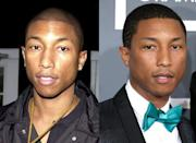 Pharrell Williams hasn't aged a day in 10 years (seen above in 2003 (left) and 2013). Recently asked what his secret was Pharrell said he was taught a few tricks by supermodel Naomi Campbell - wash you face with cold water and use the moisturiser Cetaphil. Best advert ever!
