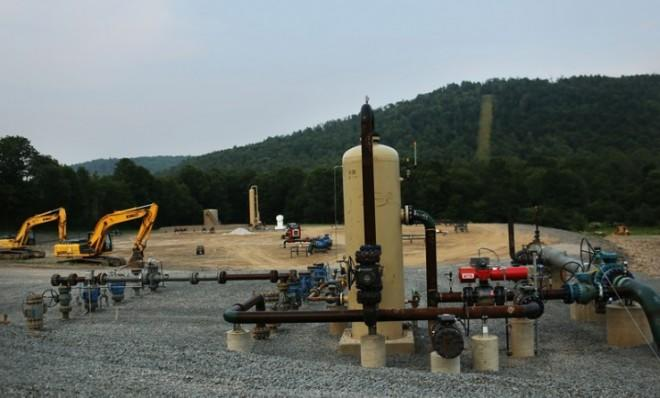 Equipment used for fracking is seen in South Montrose, Pennsylvania.