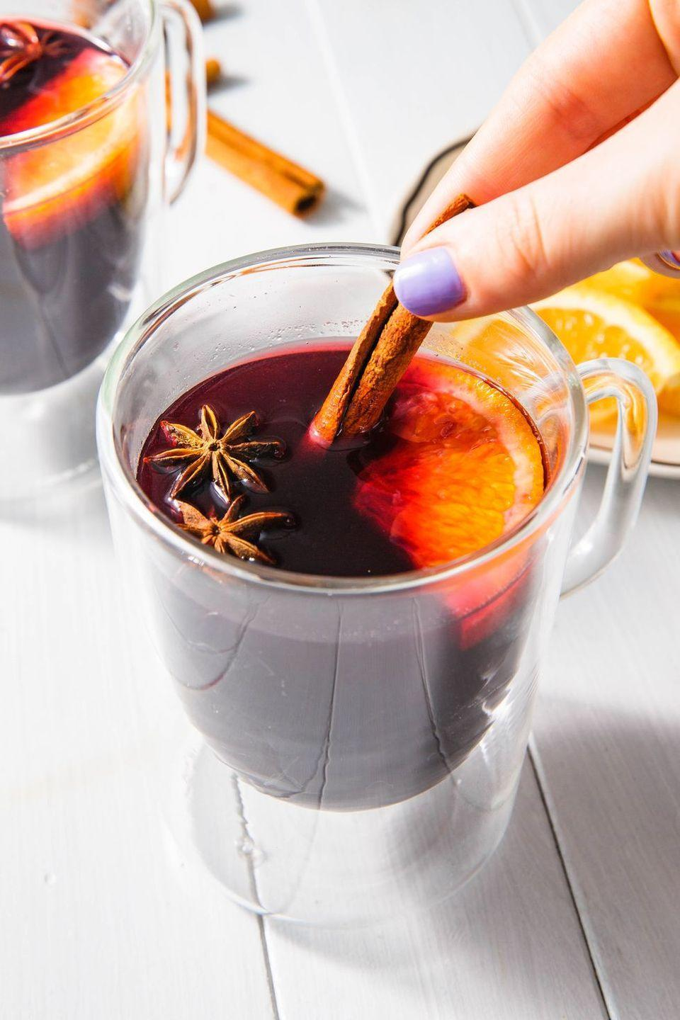 """<p>It's not Christmas time without at least one batch of mulled wine. Lucky for you, this simple recipe couldn't be easier: Just combine a bottle of red wine with some wintery spices, brandy, honey, and orange slices, then let it simmer—and prepare for coziness.</p><p><strong>Get the recipe at <a href=""""https://www.delish.com/cooking/recipe-ideas/a23364385/mulled-wine-recipe/"""" rel=""""nofollow noopener"""" target=""""_blank"""" data-ylk=""""slk:Delish"""" class=""""link rapid-noclick-resp"""">Delish</a>.</strong> </p>"""